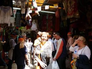 Izrael - bazár Jeruzsálemban 2013
